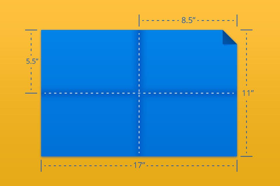 """11""""x17"""" Right Angle 1/4 fold"""